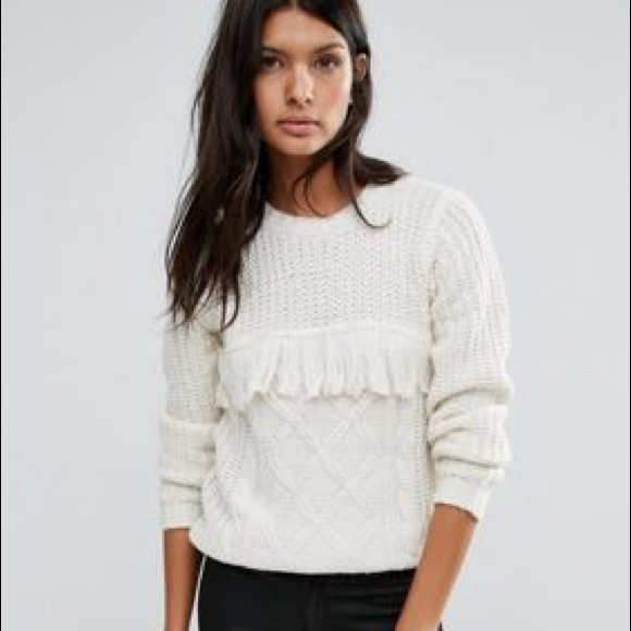 2f2093d6 ASOS Sweaters | Sold White Tassel Cable Knit Fringe Sweater | Poshmark
